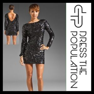 Dress The Population Long Sleeve Sequin Dress